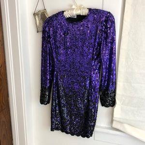 Vintage BLACK TIE OLEG CASSINI purple black dress